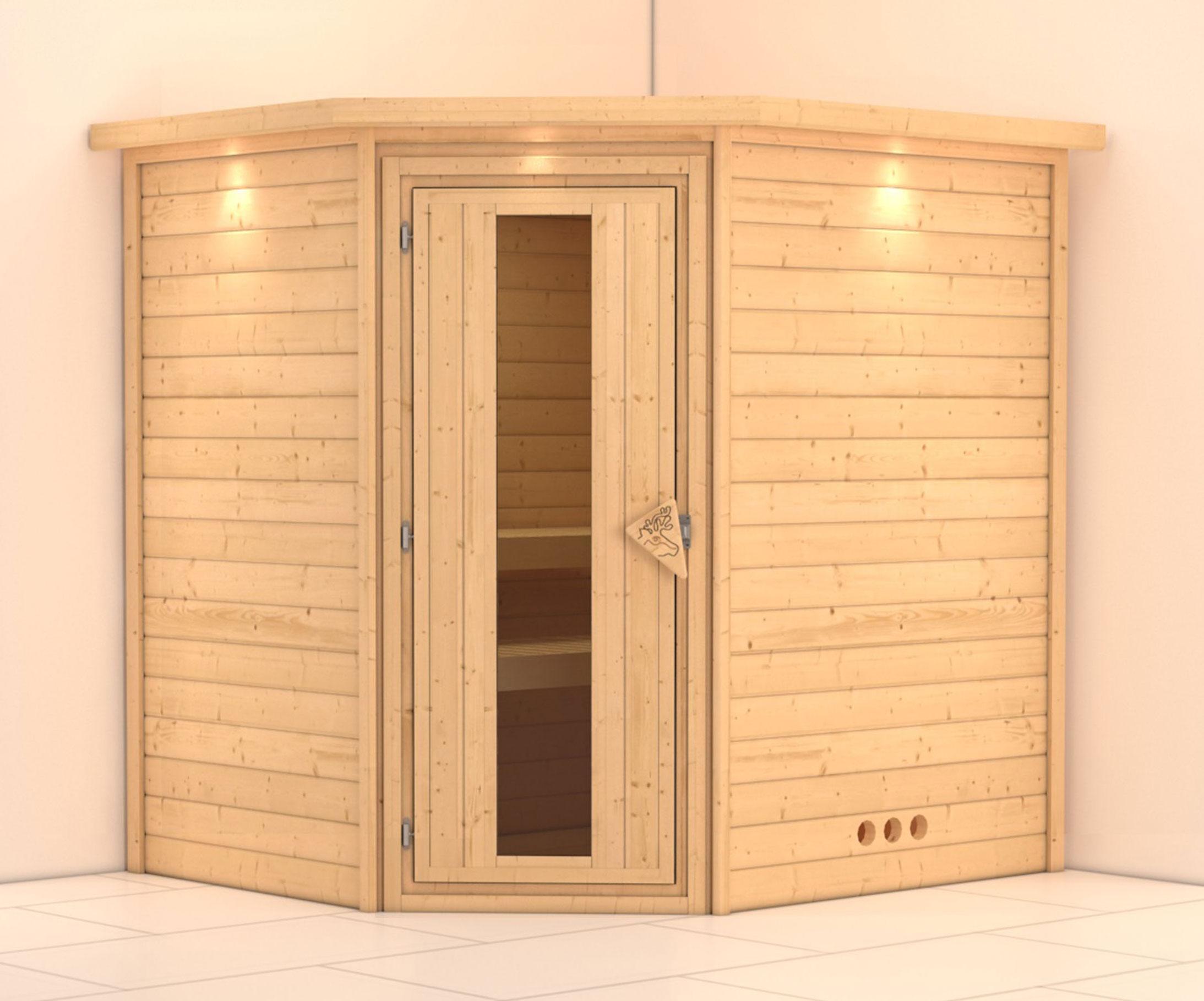 massivholzsauna ecksauna mia esp 38mm mit dachkranz ohne saunaofen bei. Black Bedroom Furniture Sets. Home Design Ideas