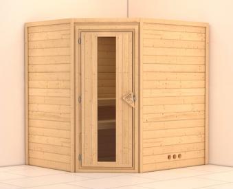 massivholzsauna ecksauna mia esp 38mm ohne saunaofen bei. Black Bedroom Furniture Sets. Home Design Ideas