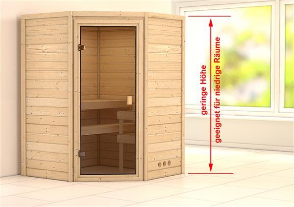 WoodFeeling Sauna Massivholz 38mm Aurel ohne Saunaofen 69437