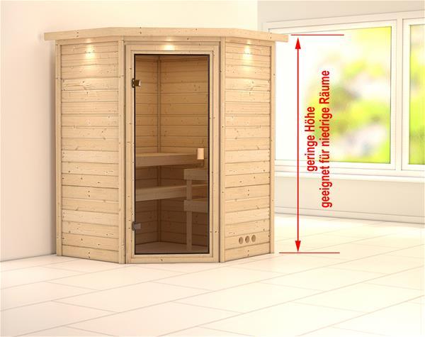 WoodFeeling Sauna Massivholz 38mm Aurel mit Dachkranz ohne Saunaofen 66834