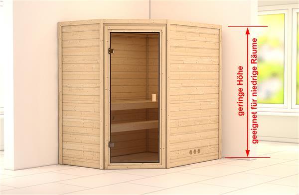 WoodFeeling Sauna Massivholz 38mm Yassin ohne Saunaofen 66679