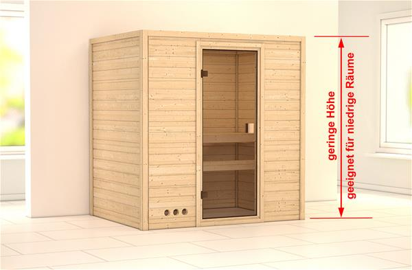 WoodFeeling Sauna Massivholz 38mm Samira ohne Saunaofen 69438