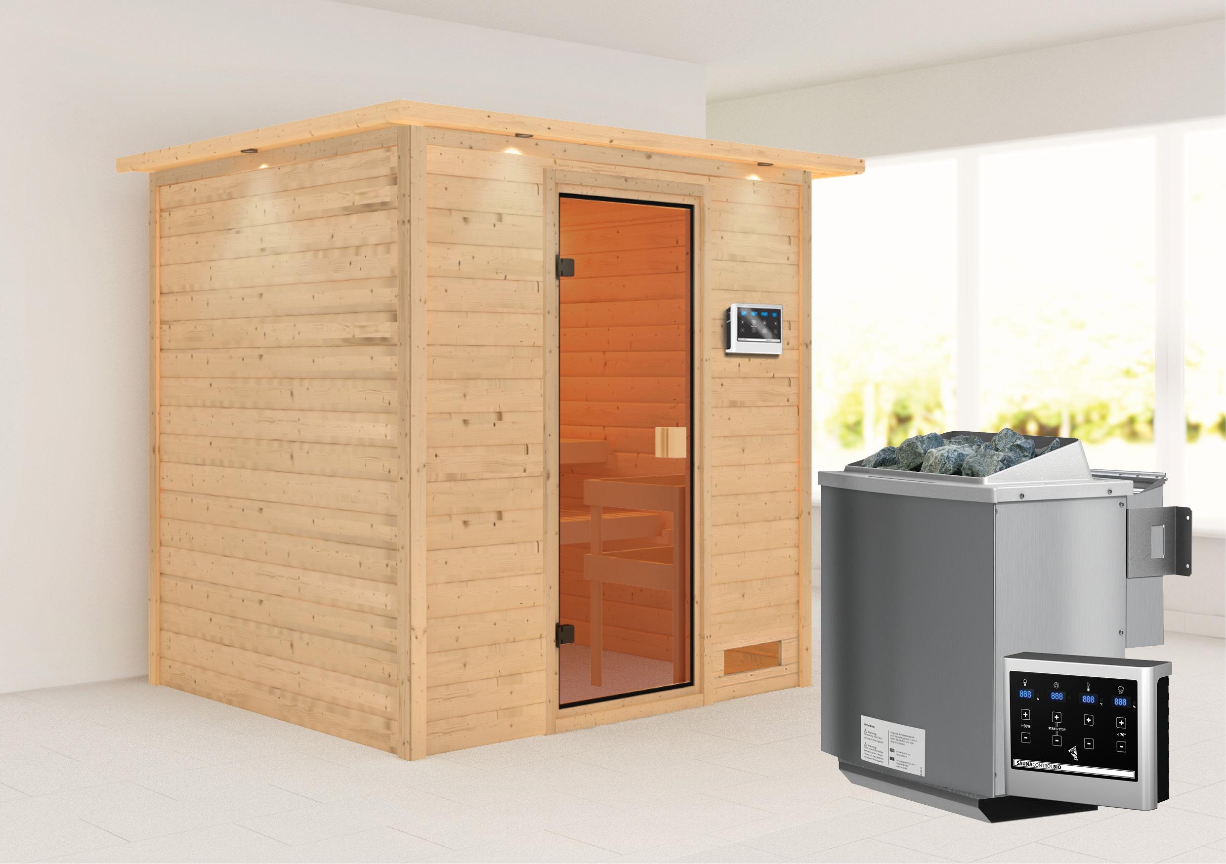 WoodFeeling Sauna Anja 38mm Bio Saunaofen 9kW extern Kranz Classic Tür Bild 1