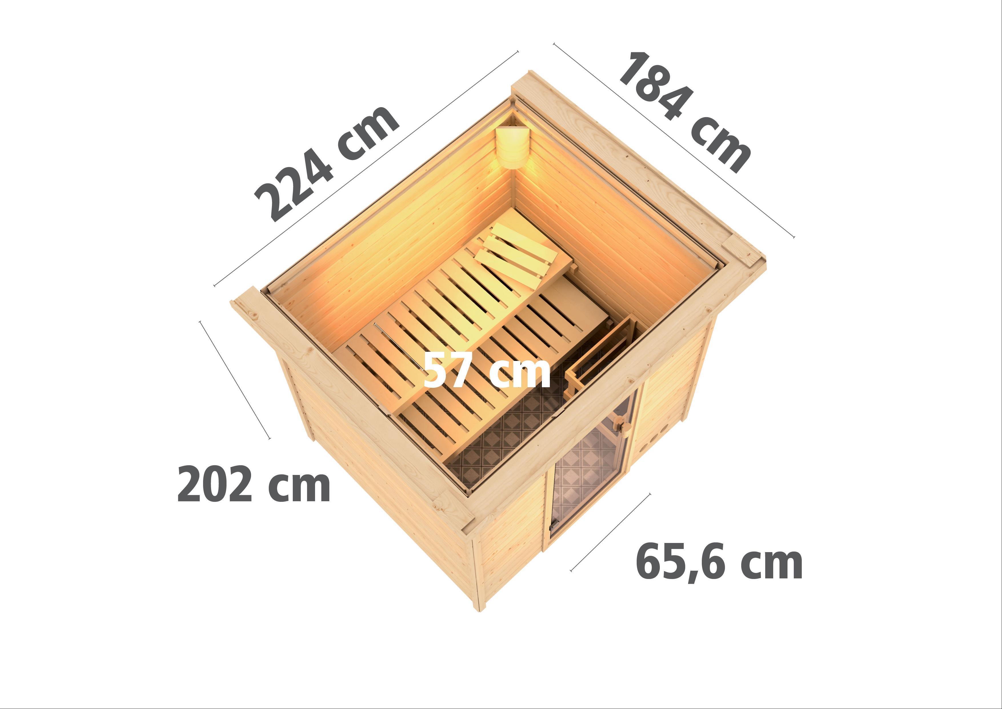WoodFeeling Sauna Anja 38mm Bio Saunaofen 9kW extern Kranz Classic Tür Bild 3