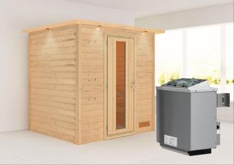 WoodFeeling Sauna Anja 38mm Saunaofen 9kW intern Kranz Holztür Bild 1
