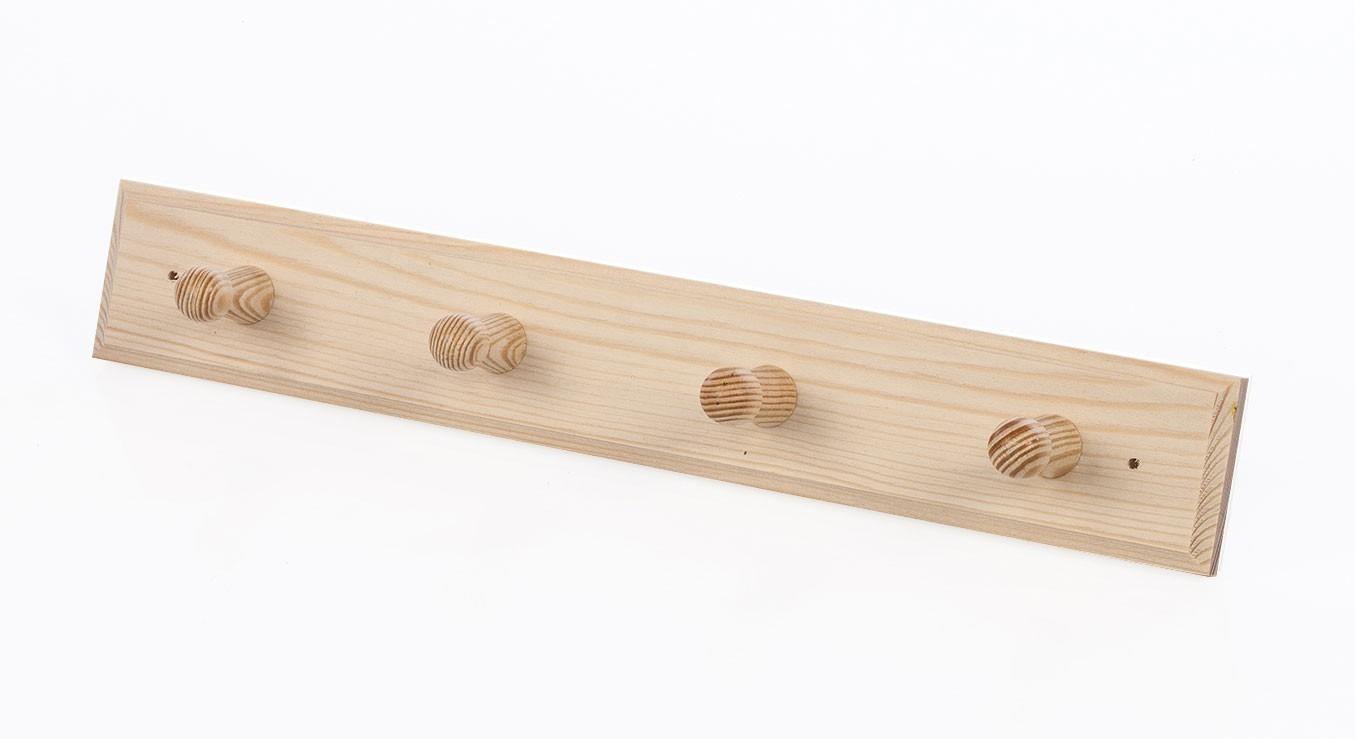 Eliga Kleiderhaken für Sauna aus Holz mit 4 Aufhängern Bild 1
