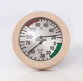 Eliga Klimamesser für Sauna Ø170mm Skala silber mit rundem Holzrahmen Bild 1