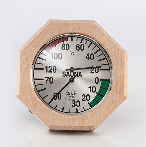 Eliga Klimamesser für Sauna Ø170mm mit 8-eckigem Holzrahmen Bild 1