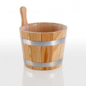 Eliga Aufgusseimer aus Lärchenholz mit Kunststoff Einsatz 5 Liter