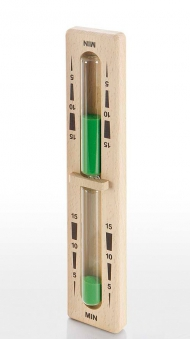 Eliga Sanduhr für Sauna mit grünem Sand Laufzeit 15 Min mit Holzbügel Bild 1