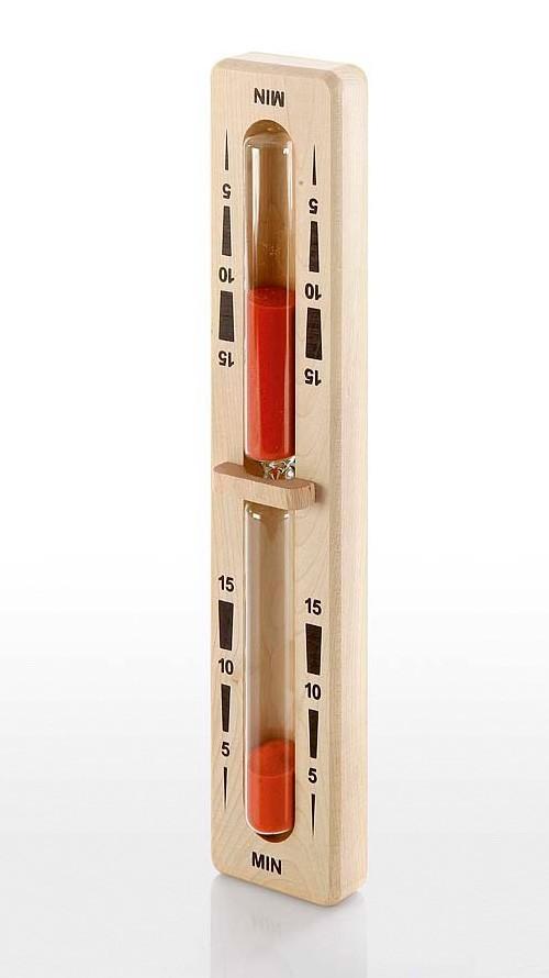 Eliga Sanduhr für Sauna mit rotem Sand Laufzeit 15 Min mit Holzbügel Bild 1