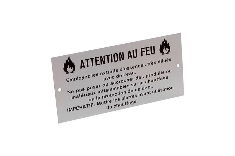Eliga Sauna Warnschild Attention au Feu Aluminium französisch 100x50mm Bild 1