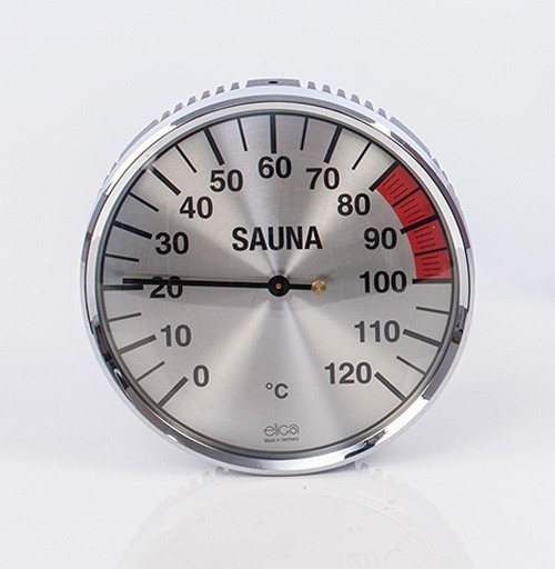 Eliga Thermometer für Sauna Ø135mm silber Bild 1