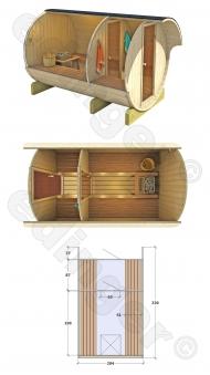 Fasssauna - liegendes Saunafass 330 ohne Saunaofen Bild 2