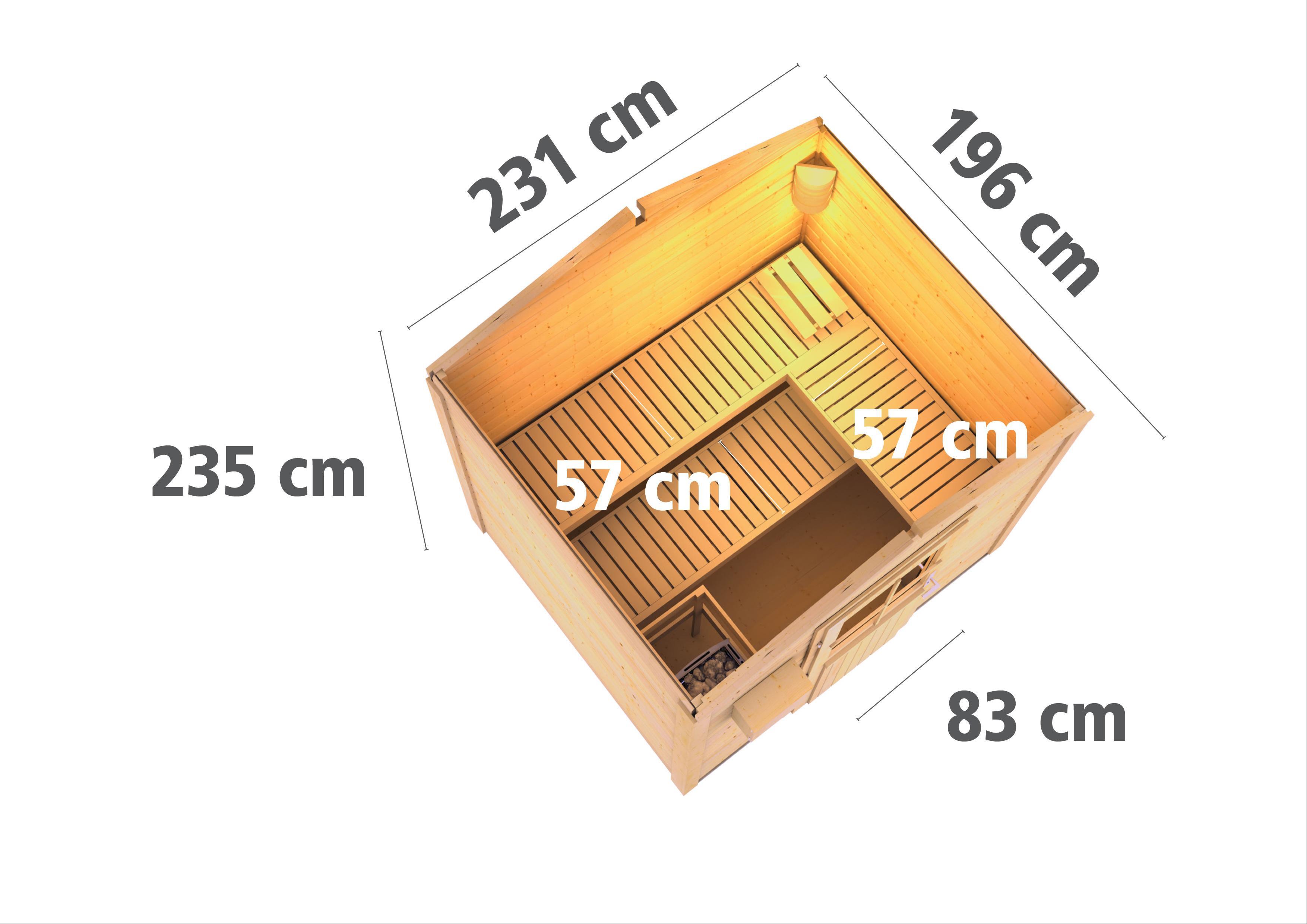 Gartensauna Karibu Saunahaus Bosse 1 38mm Ofen 9kW ext.Tür Milchglas Bild 3