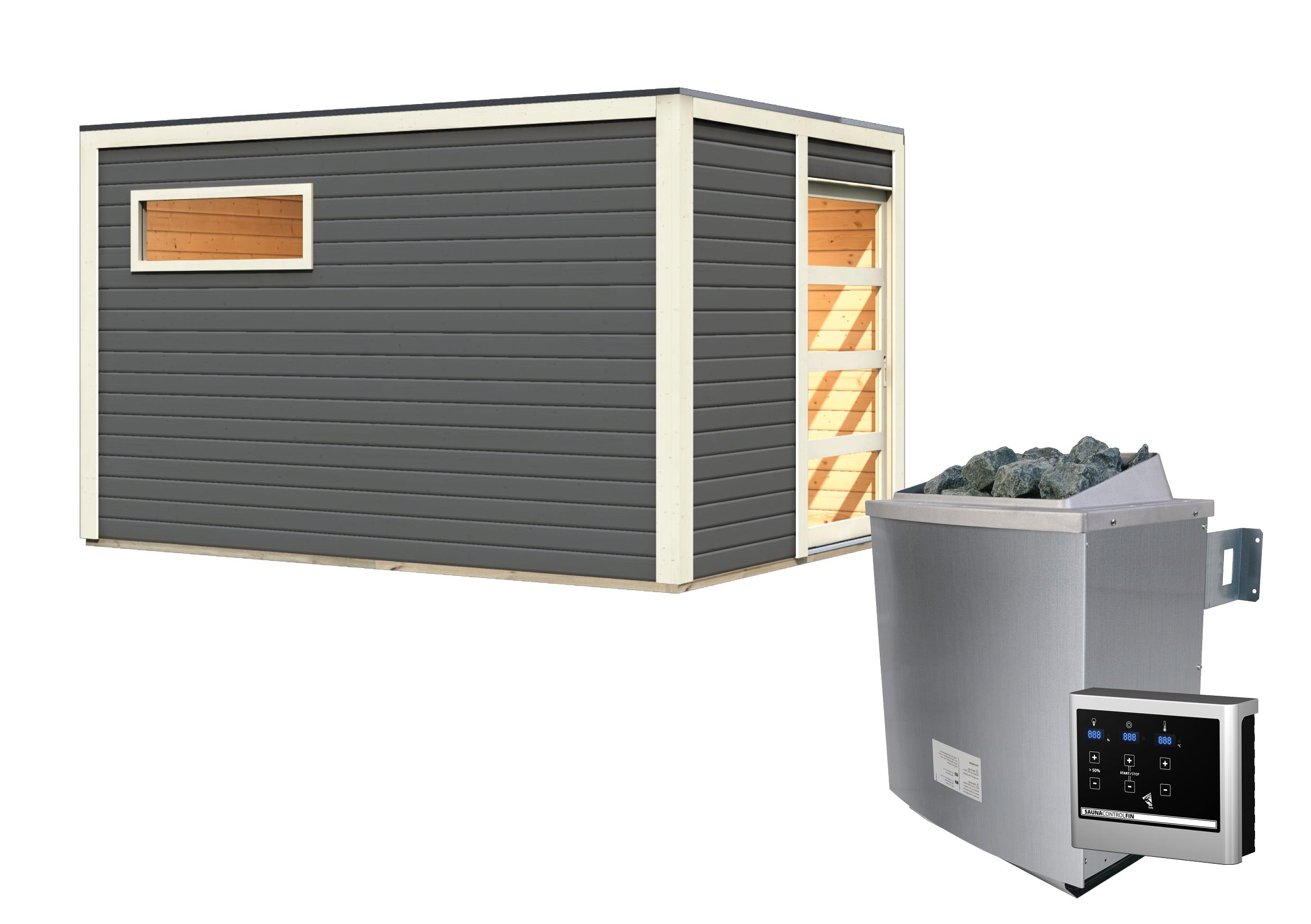 Gartensauna Karibu Saunahaus Caleb grau 38mm Saunaofen 9kW extern Bild 12