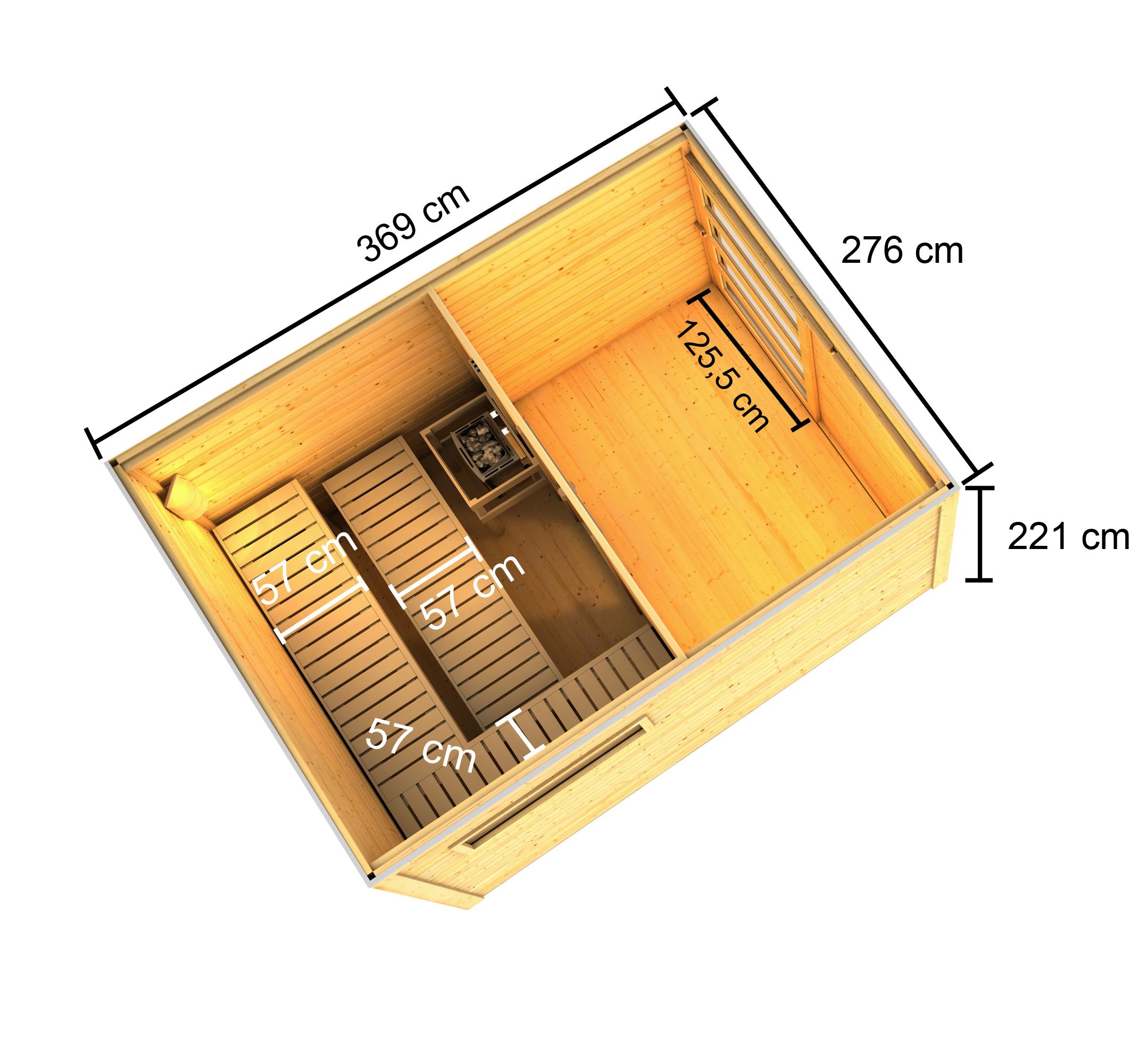 Gartensauna Karibu Saunahaus Caleb natur 38mm Bio Saunaofen 9kW extern Bild 14