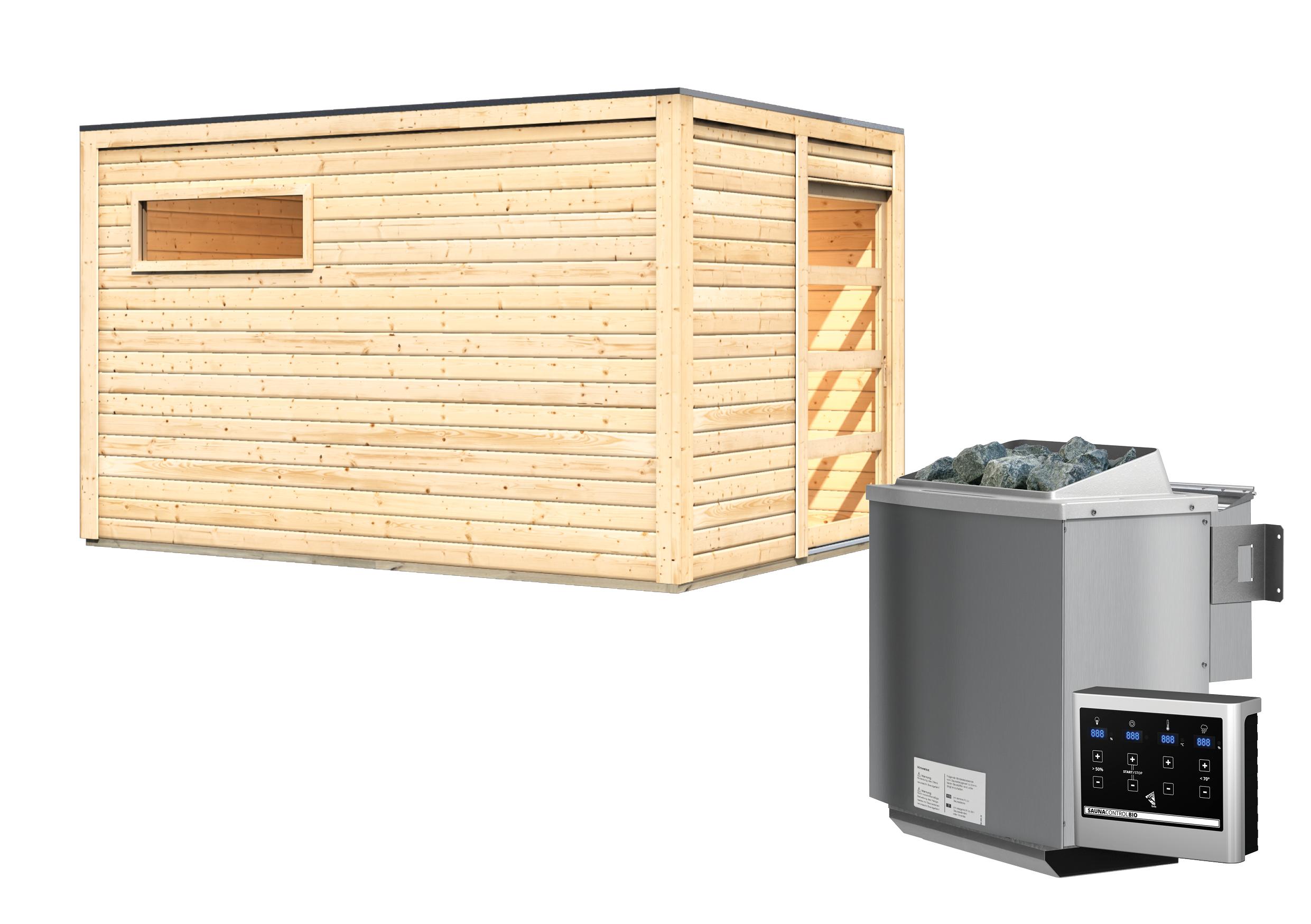 Gartensauna Karibu Saunahaus Caleb natur 38mm Bio Saunaofen 9kW extern Bild 8