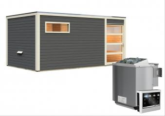 Gartensauna Karibu Saunahaus Hygge grau 38mm Saunaofen 9kW Bio extern Bild 3