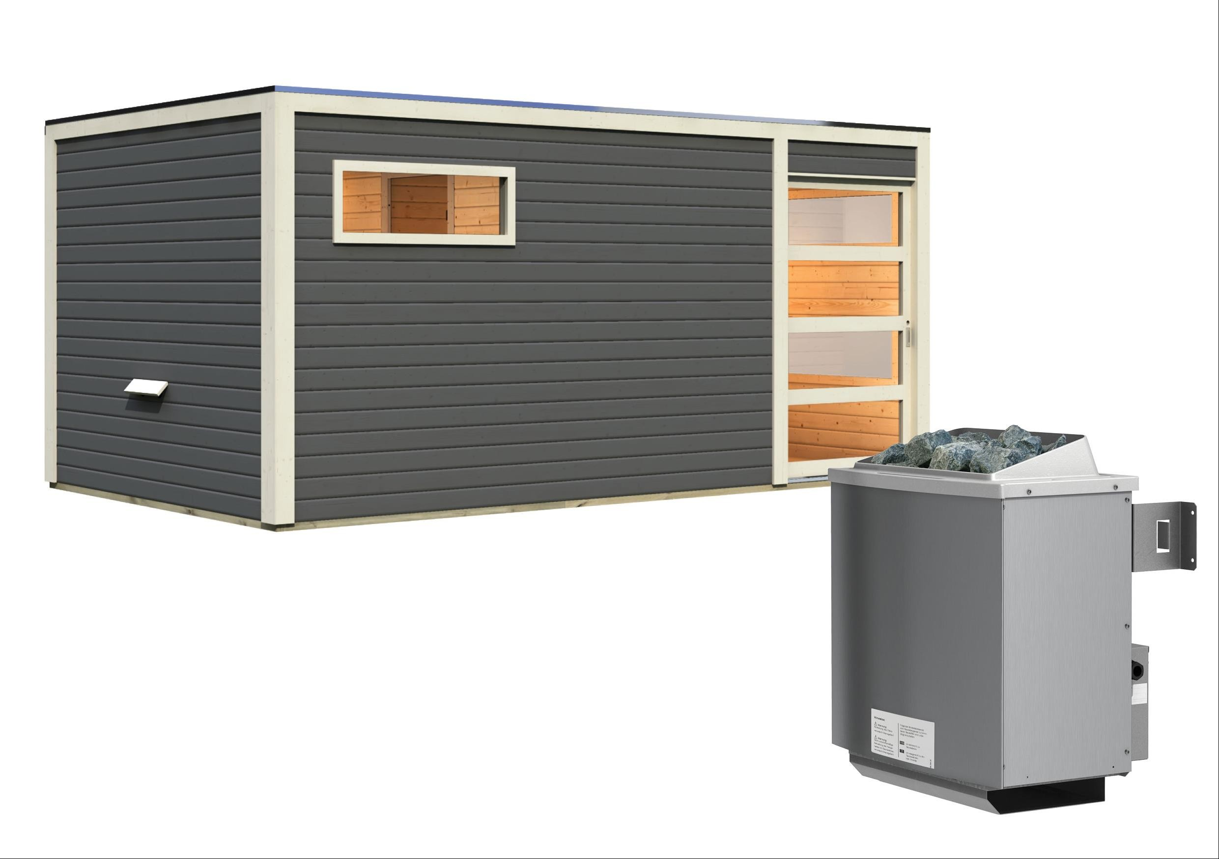 Gartensauna Karibu Saunahaus Hygge grau 38mm Saunaofen 9kW intern Bild 3