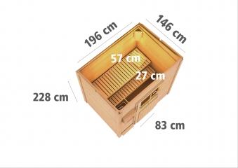 Gartensauna Karibu Saunahaus Jorgen 38mm Ofen 9kW int. Tür Milchglas Bild 3