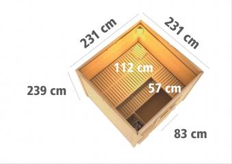Gartensauna Karibu Saunahaus Kroge 38mm Ofen 9kW intern Tür modern Bild 3