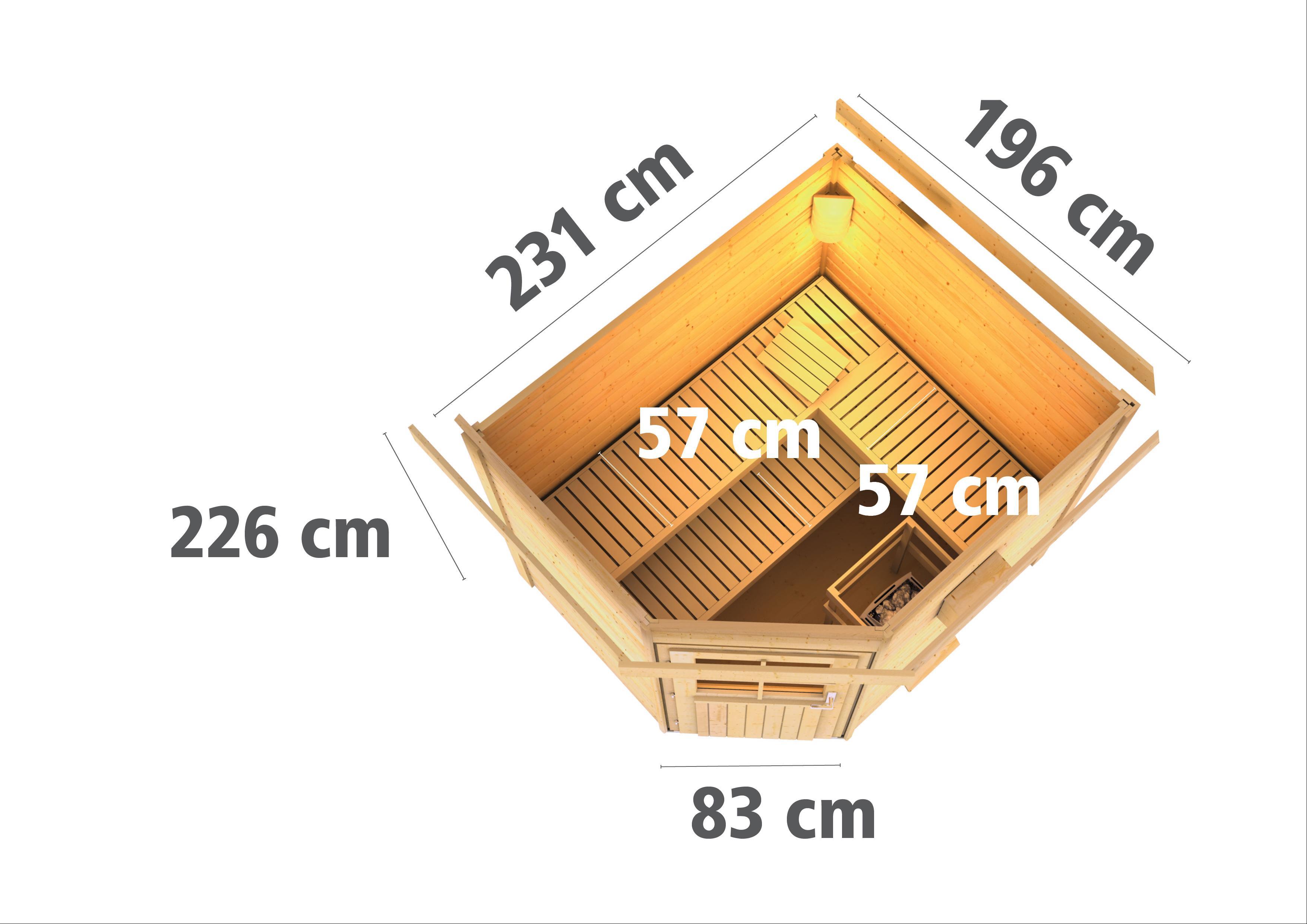 Gartensauna Karibu Saunahaus Mikka 38mm Ofen 9kW extern Tür modern Bild 3