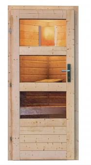 Gartensauna Karibu Saunahaus Mikka 38mm Ofen 9kW extern Tür modern Bild 5