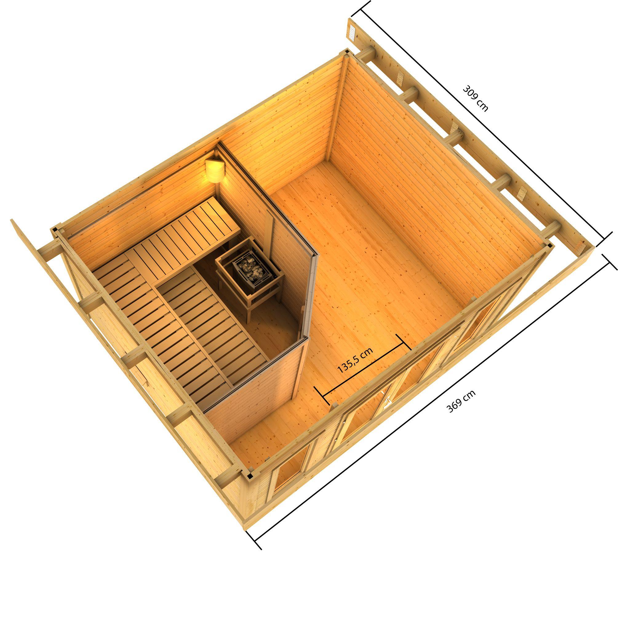 Gartensauna Karibu Saunahaus Nordin 38mm ohne Saunaofen Bild 2