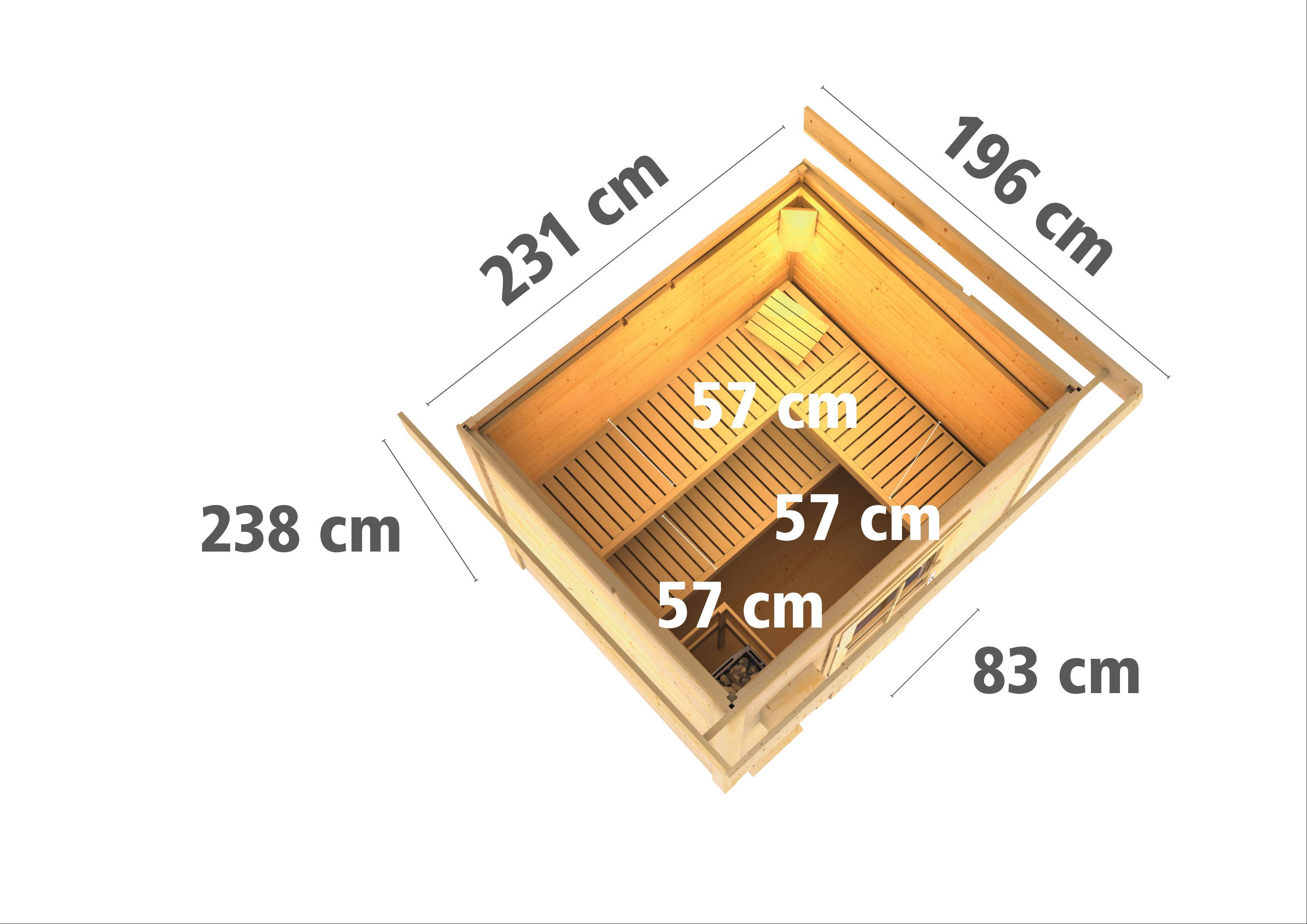 Gartensauna Karibu Saunahaus Norge 38mm Ofen 9kW int. Tür Milchglas Bild 3
