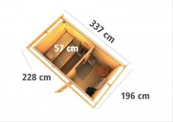 Gartensauna Karibu Saunahaus Skrollan 1 38mm Ofen 9kW int Tür Milchgla Bild 3