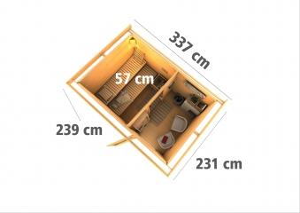 Gartensauna Karibu Saunahaus Skrollan 2 natur 38mm Ofen 9kW int. Milch Bild 4