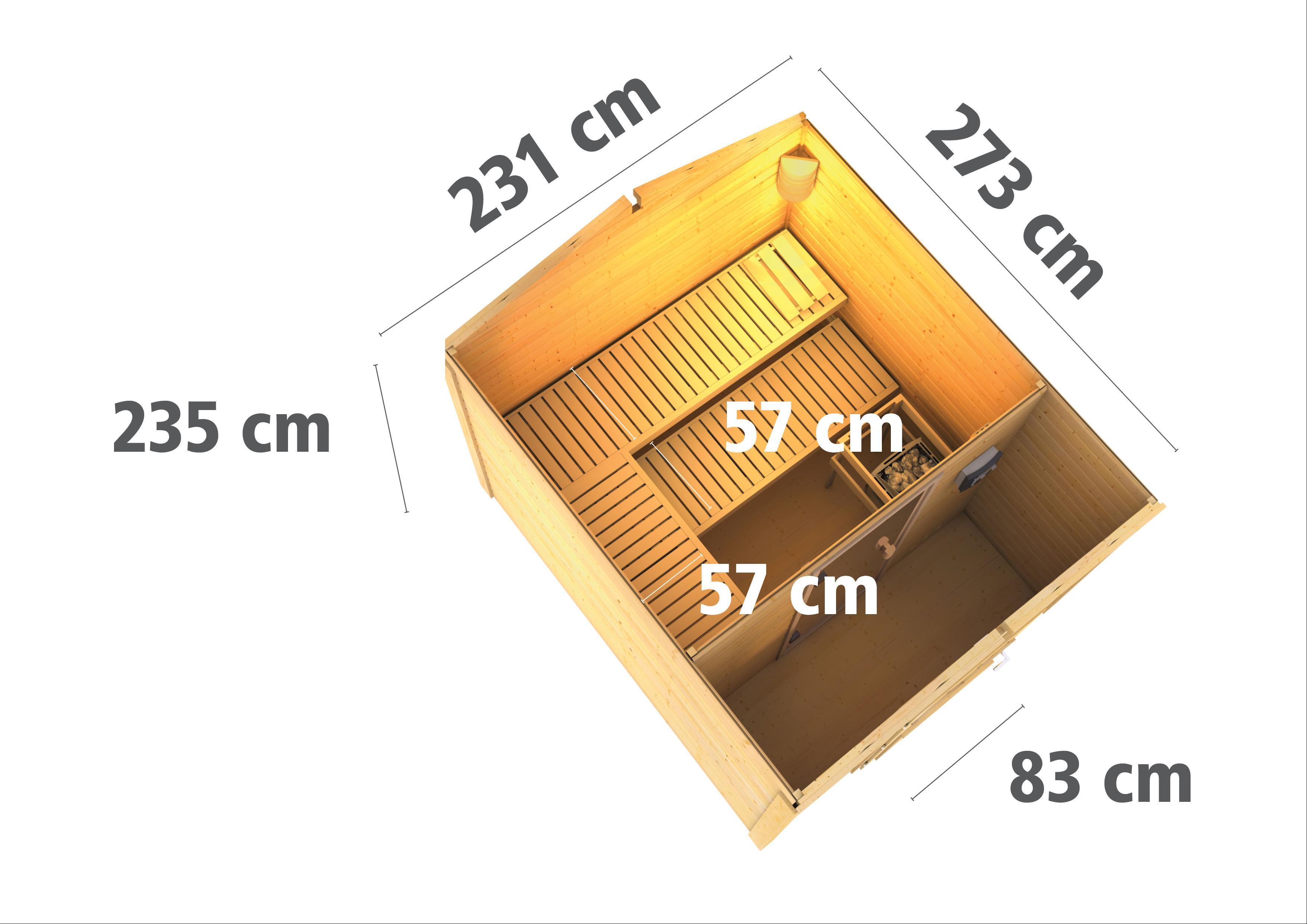 Gartensauna WoodFeeling Saunahaus Birka 1 38mm Vorraum Ofen 9kW ext. Bild 4