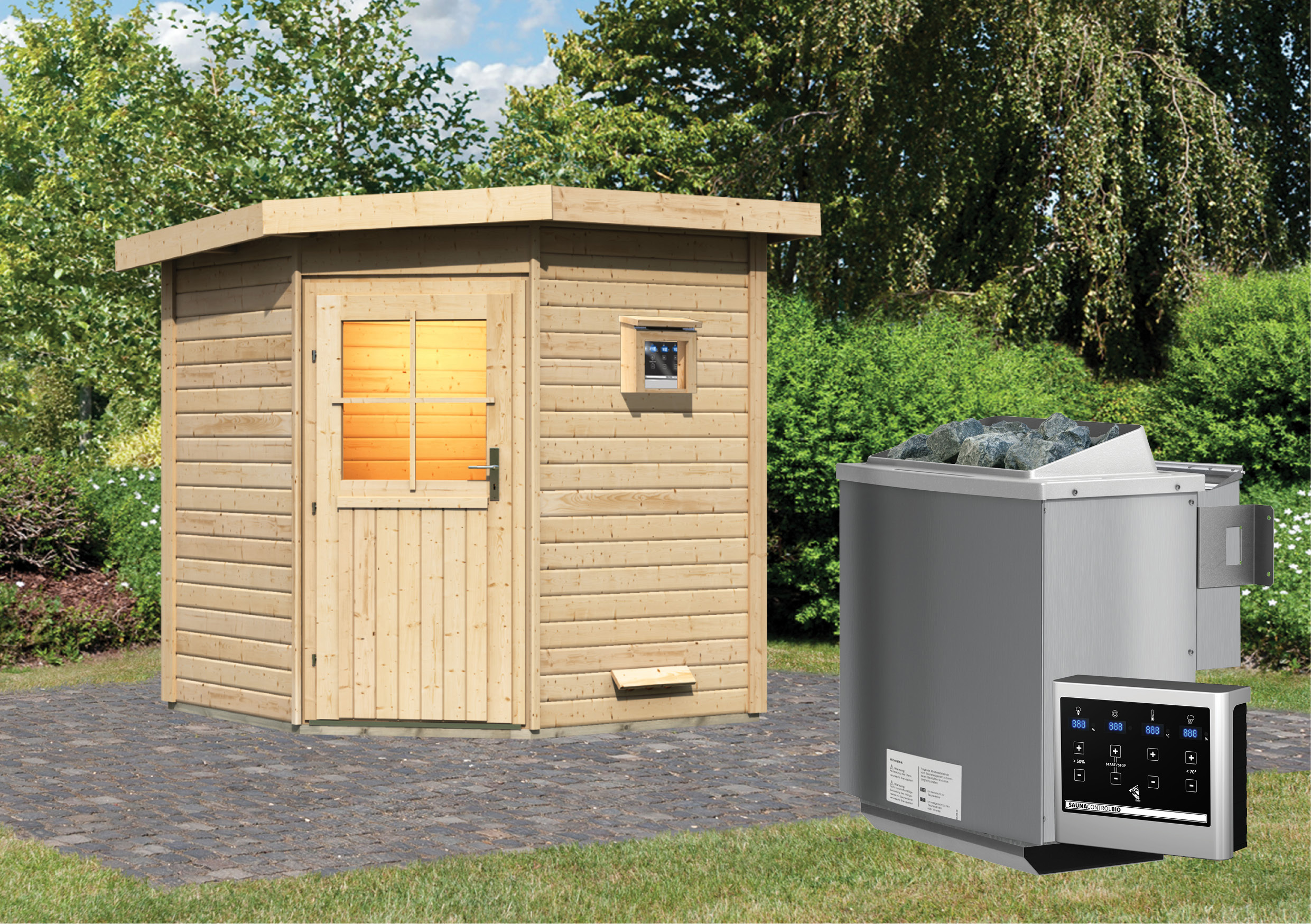 Gartensauna WoodFeeling Saunahaus Pirva 38mm Saunaofen Bio 9kW ext. Bild 1