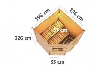 Gartensauna WoodFeeling Saunahaus Pirva 38mm Saunaofen Bio 9kW ext. Bild 4