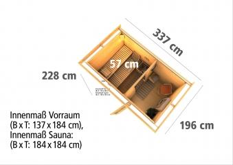 Gartensauna WoodFeeling Saunahaus Suva 1 38mm Saunaofen 9kW int. Bild 4