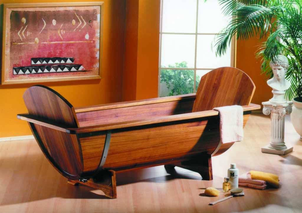 Holzbadewanne Achleitner Omega 200x80x58 cm Kambala-Holz Bild 1