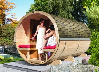 Karibu Fass Sauna 4 / Außensauna mit Bio Saunaofen 9kW Bild 1