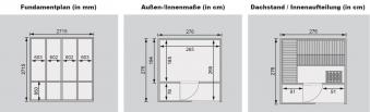 Karibu Gartensauna / Saunahaus Cuben grau 38mm Bio Saunaofen 9kW ext. Bild 2