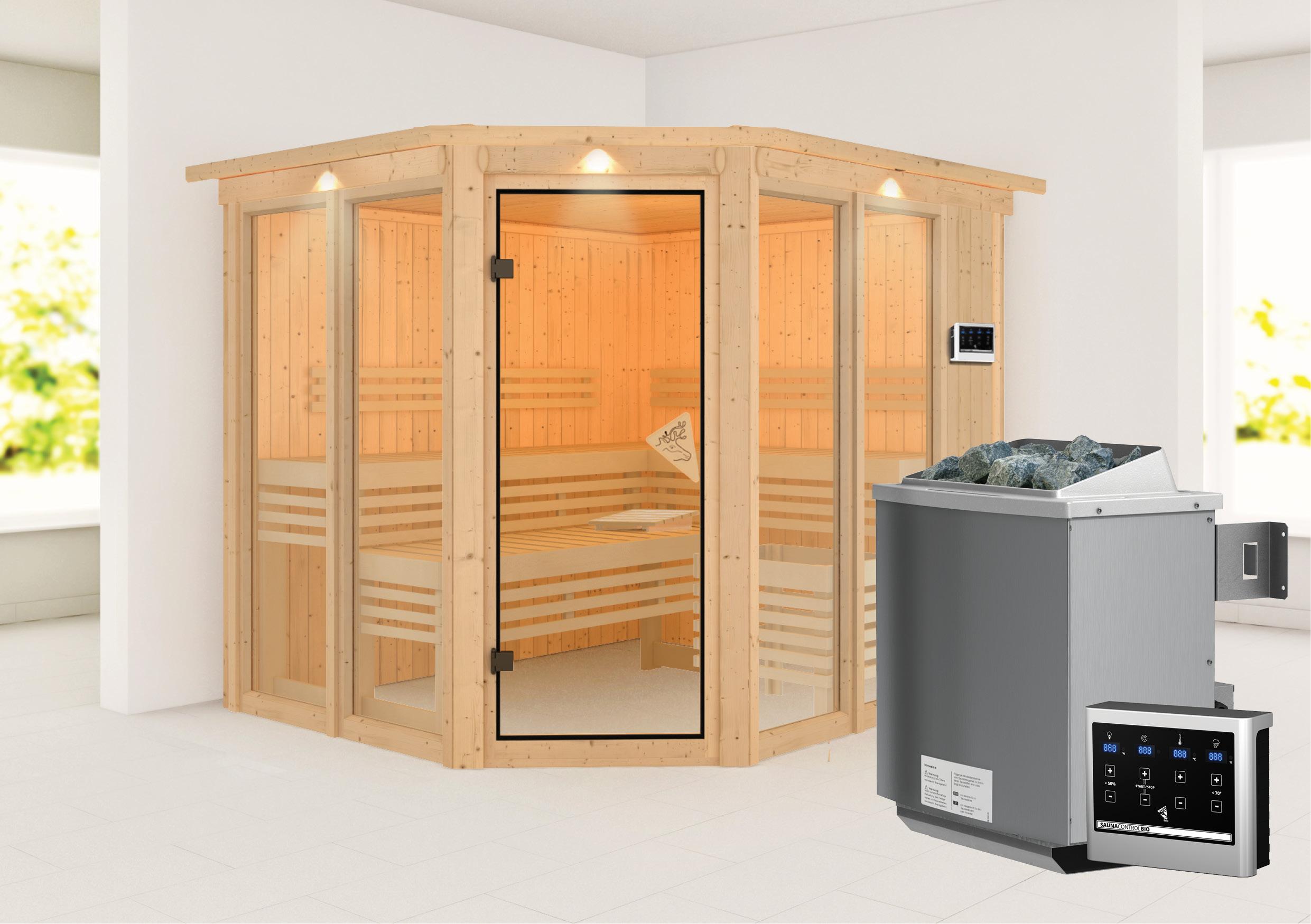 Karibu Sauna Ainur 68mm Superior Kranz Bio Saunaofen 9kW extern Bild 1