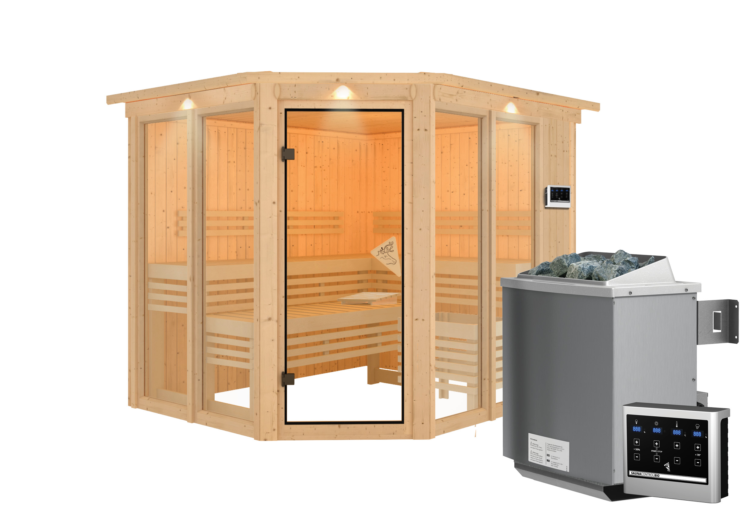 Karibu Sauna Ainur 68mm Superior Kranz Bio Saunaofen 9kW extern Bild 12