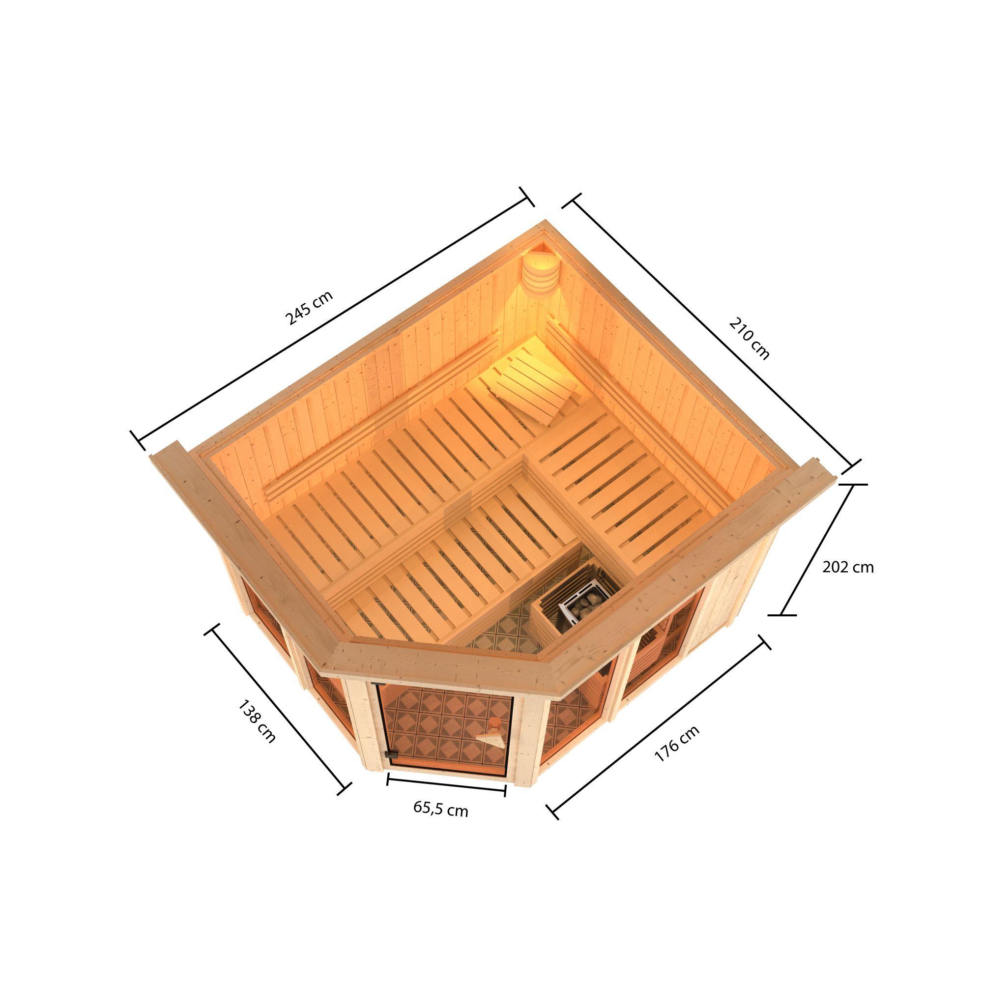 Karibu Sauna Ainur 68mm Superior Kranz Bio Saunaofen 9kW extern Bild 5