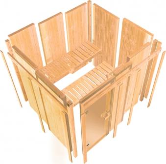 Karibu Sauna Ainur 68mm Superior Kranz Bio Saunaofen 9kW extern Bild 14