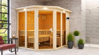 Karibu Sauna Ainur 68mm Superior Kranz Bio Saunaofen 9kW extern Bild 8