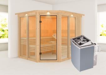 Karibu Sauna Ainur 68mm Superior Kranz Saunaofen 9kW intern Bild 1