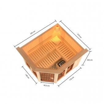 Karibu Sauna Ainur 68mm Superior Kranz Saunaofen 9kW intern Bild 3