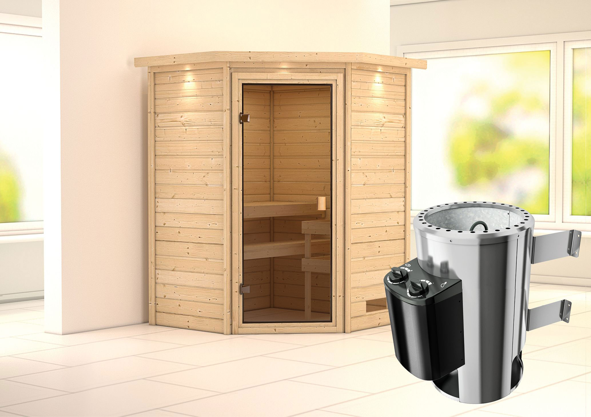 Karibu Sauna Alicja 38mm 230V Dachkranz + Ofen 3,6kW intern classicTür Bild 1
