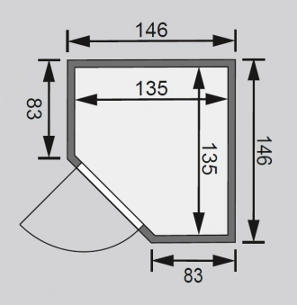 Karibu Sauna Alicja 38mm 230V mit Ofen 3,6kW intern classic Tür Bild 2