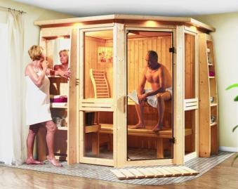 Karibu Sauna Amelia 1 68mm ohne Ofen classic Tür Bild 4