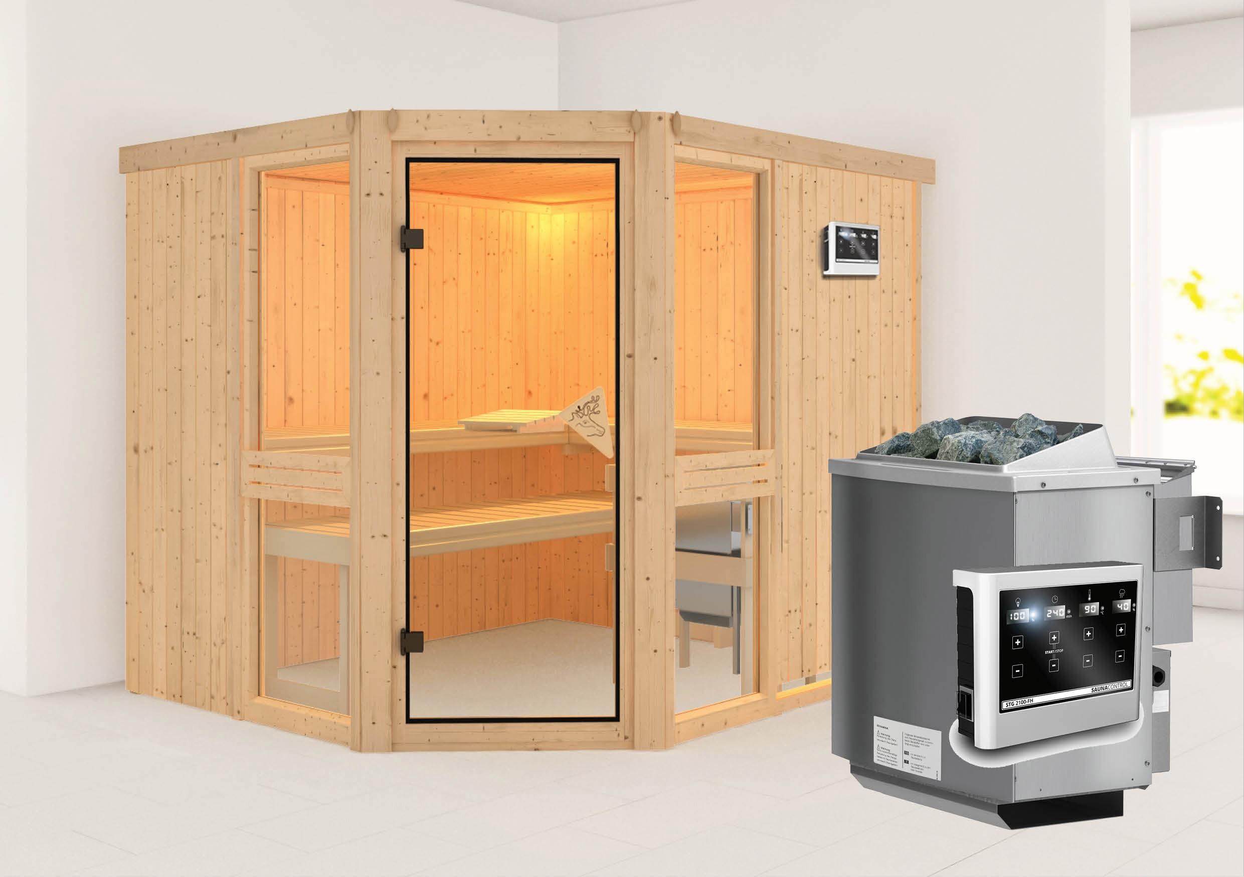 Karibu Sauna Amelia 3 68mm mit Bio Ofen 9kW extern classic Tür Bild 1
